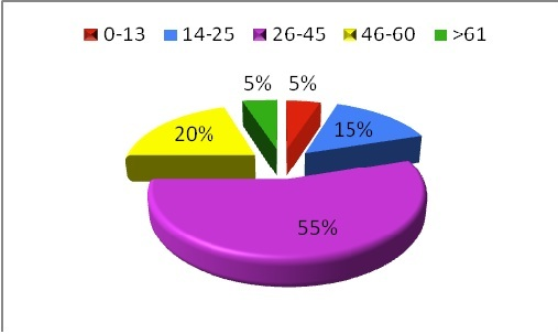 Figure 2: A pie chart demonstrating the distribution by age of patients with pituitary tumors managed at the neurosurgical unit. The majority of the patients were aged between 26-45 years.